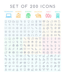 Set of 200 Minimal Modern Black Thin Stroke Icons ( Multimedia Business Ecology Education Family Medical Fitness)
