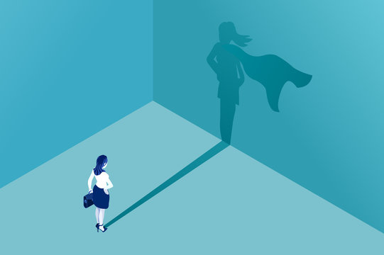 Businesswoman with superhero shadow vector concept. Isometric Eps10 vector illustration. Business symbol of emancipation ambition success motivation leadership courage and challenge.