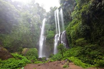 Hidden in jungles beautiful Sekumpul waterfall on Bali, Indonesia