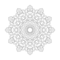 Monochrome ethnic mandala design.