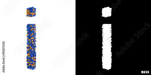 Litera I 3d Sześciany Kwadraty Klocki Piksele Stockfotos Und