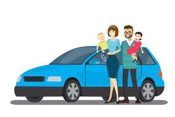 Cartoon happy family and Blue car,isolated on white background,