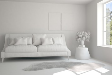 Grey room with sofa. Scandinavian interior design. 3D illustration