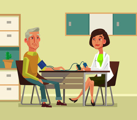 Woman doctor character measures pressure to old man. Vector flat cartoon illustration