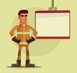 Firefighter man character giving lessons. Vector flat cartoon illustration