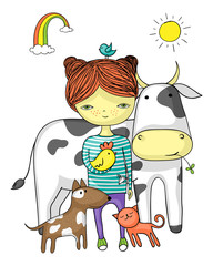 Girl surrounded by her animal friends