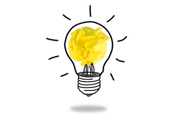 Sketch of glowing light bulb, creative idea.Concept of idea and innovation with paper ball.