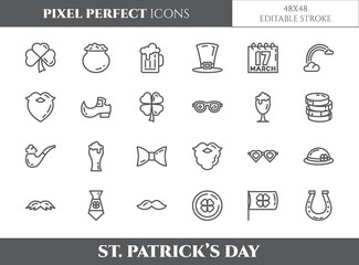 St. Patrick's Day theme pixel perfect thin line icons. Set of elements of , shamrock, leprechaun hat, gold and other holiday related pictograms. Vector illustration. 48x48 pixels. Editable stroke