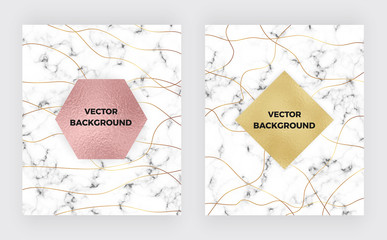 Set minimalist white marble with gold lines and foil texture. Luxury cover templates. Cover design for placards, banners, party, birthday, wedding, flyers, presentations and cards.