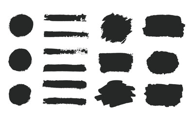 Set of black grunge hand paint, round shapes, stripes, ink brush strokes, hand painted circles, brushes, lines isolated on white background