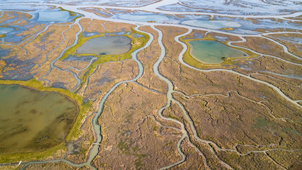 Drone view of a spectacular delta where a river flows into the sea Fotomurales