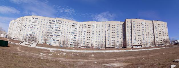 Long panel house of a modern city