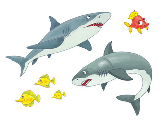 Cute sea animals. Ocean. Sharks. Coloring page. Illustration for children