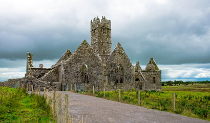 Landscapes of Ireland. Ruins of Ross Errilly Friary Convent in Galway County. National Monument and best preserved monastery.