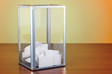Election ballot box on the wooden table, 3D rendering