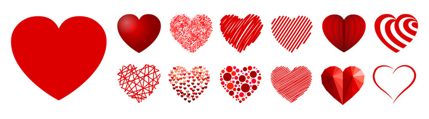 Set of thirteen hearts - stock vector