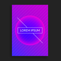 Placard template. Modern cover design with diagonal line pattern and simple outline frame with title. Minimalist style concept. Vector illustration