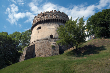 Tower of  historic castle under the blue sky
