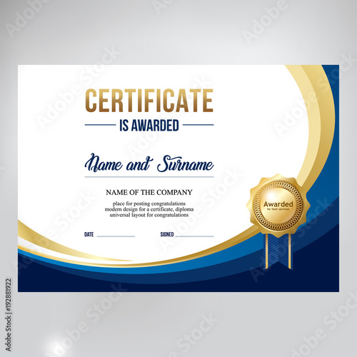 u0026quot certificate design  stylish blue background for text