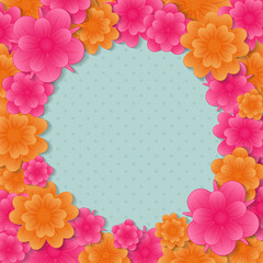 Concept of background with colourful flowers. Vector.
