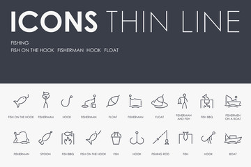 FISHING Thin Line Icons