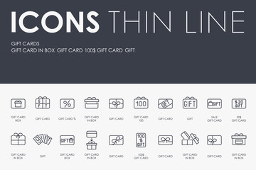 GIFT CARDS Thin Line Icons