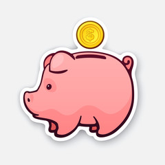 Sticker of piggy bank for cash money with gold dollar coin in side view