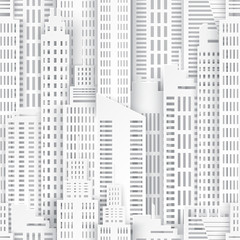 Seamless urban background. White paper skyscrapers. Achitectural building in panoramic view. Modern city skyline building industrial paper art landscape skyscraper offices. Vector Illustration