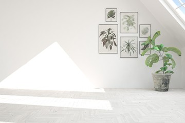 White empty room with green pictures on a wall and flower. Scandinavian interior design. 3D illustration