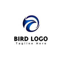 simple circle with abstract eagle head logo