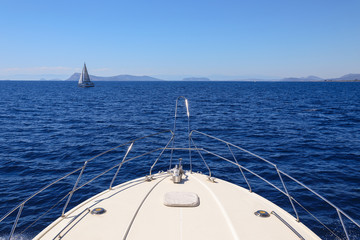 Summer day traveling on a yacht Saronic Gulf, Greece.