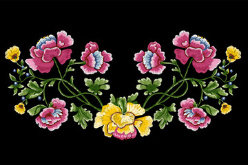 Embroidery meadow pattern with simplify flowers and berries. Floral design for clothing.