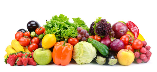 Collection of fruits and vegetables isolated on white for your project.