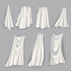 Set of fluttering white cloths, with folds soft lightweight clear material isolated vector illustration cartoon style