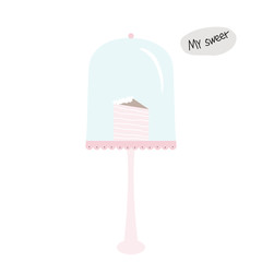 Cute poster with sweet pink cake. Vector hand drawn illustration.