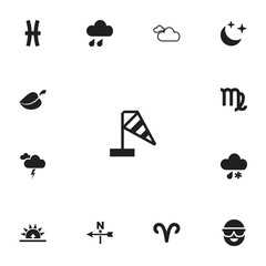 Set of 13 editable air icons. Includes symbols such as virgo, aries, mist and more. Can be used for web, mobile, UI and infographic design.