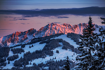 Austria westendorf mountains sunset Wall mural