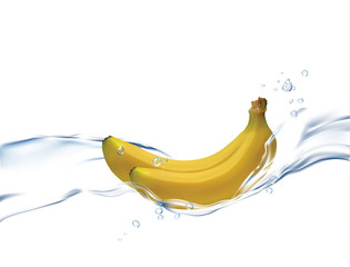 Realistic illustration banana isolated on white background. Flowing water