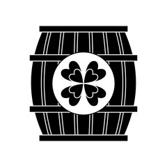 wooden barrel of beer with clover vector illustration black and white image