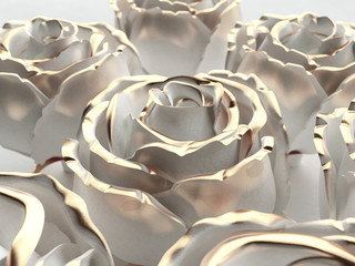 Gold flower white stone rose on a whitebackground . 3d render