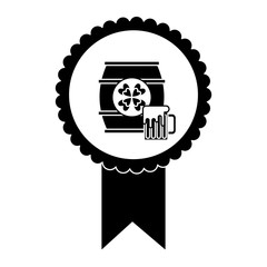 rosette badge with wooden barrel beer vector illustration black and white image