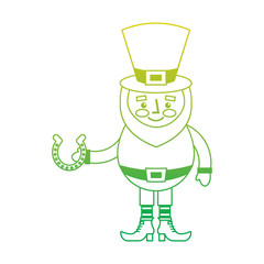 leprechaun holding horseshoe for luck traditional vector illustration neon color line image