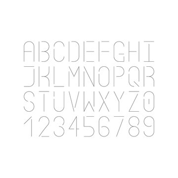 Modern single thin line font. Vector uppercase letters and numbers. Infographic and futuristic design.