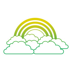 rainbow and cloud in the sky vector illustration neon color line image