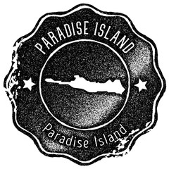 Paradise Island map vintage stamp. Retro style handmade label, badge or element for travel souvenirs. Black rubber stamp with island map silhouette. Vector illustration.