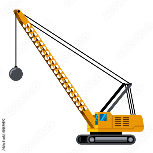 Demolition Crane Machine Minimalistic Icon Isolated Construction Equipment Vector Heavy Vehicle