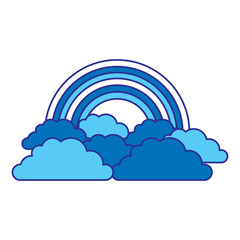 rainbow and cloud in the sky vector illustration blue design image