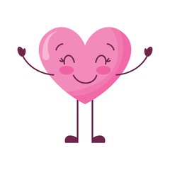 cute cartoon heart happy character vector illustration