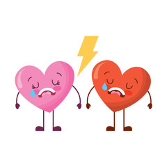 couple love heart cartoon broken crying vector illustration