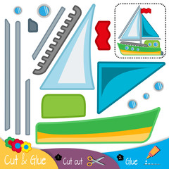 Sea yacht with blue sails. Education paper game for preshool children. Vector illustration.